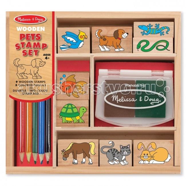 Melissa &amp; Doug Набор печатей Домашние животныеНабор печатей Домашние животныеВ набор входит 9 деревянных штампов и 5 цветных карандашей, прочная двухцветная штемпельная коробочка. Все упаковано в деревянных лоток с перегородками.   С помощью штампов нанесите на бумагу контуры, затем дорисуйте и раскрасьте картинку цветными карандашами!  Melissa & Doug - ведущий мировой производитель игрушек из натуральных материалов, прежде всего из дерева. Вся производимая продукция отличается надежностью, экологичностью и безопасностью для ребенка. Игрушки данной торговой марки предназначены не только для развлечения детей, а в первую очередь ориентированы на раннее развитие и обучение.<br>