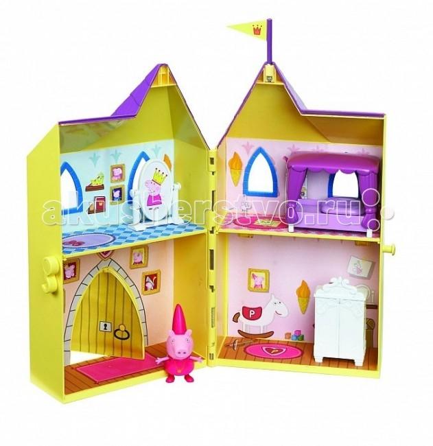 Peppa Pig Замок принцессыЗамок принцессыPeppа Pig Игровой набор Замок принцессы – это отличная возможность для малышей погрузиться в мир приключений любимых персонажей.  Любая девочка мечтает однажды проснуться принцессой и поэтому с радостью играет в игры от лица царственных особ. А знаменитая и любимая детьми свинка Пеппа и ее прекрасный замок – это как раз то, что нужно, чтобы как можно лучше почувствовать себя настоящей дочерью короля!   Особенности: Роскошные апартаменты, состоящие из четырех комнат, прекрасная кукольная мебель, окна и двери, сделанные под старину, а сверху башенка с королевским флагом.  Игрушка изготовлена из качественной пластмассы и абсолютно безвредна, поэтому вы можете не беспокоиться о здоровье ребенка. Домик разделен на 4 игровые зоны (спальня, гардеробная, игровая комната, парадная с вращающейся дверью).  Товар изготовлен из безопасного пластика и сертифицирован.  В комплекте:  двухэтажный домик в виде сказочного замка 31х6х30,5 см,  фигурка Пеппы-принцессы (7 см) с двигающимися ручками и ножками мебель и аксессуары для оформления внутреннего пространства замка (шкаф, кровать, игрушечное зеркало).<br>