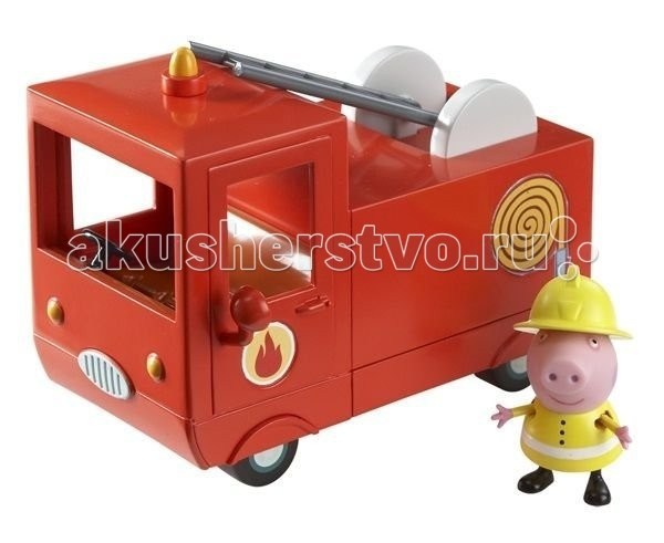 Peppa Pig Игровой набор Пожарная машина ПеппыИгровой набор Пожарная машина ПеппыPeppа Pig Игровой набор Пожарная машина Пеппы – это отличная возможность для малышей погрузиться в мир приключений любимых персонажей.  Свинка Пеппа спешит на помощь! В защитной форме и шлеме пожарника она отважно тушит огонь и спасает своих друзей. И все это благодаря ее пожарной машине – точно такой же, как и в мультфильме!  Особенности: В ней есть кабина с открывающимися дверками и углублениями на сидении для двух фигурок, подвижная пожарная лестница, декоративные зеркала и мигалка. С ней не страшен никакой пожар! Игрушки выполнены из высококачественного пластика и безопасны для детского использования.  Товар сертифицирован.  В комплекте:  красная пожарная машина размером 14х9,5х7см фигурка Свинки Пеппы высотой 5,5 см с двигающимися ручками и ножками, которая может стоять и сидеть.<br>