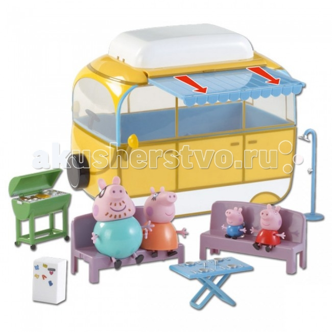 Peppa Pig Игровой набор Кемпинг ПеппыИгровой набор Кемпинг ПеппыPeppа Pig Игровой набор Кемпинг Пеппы – это отличная возможность для малышей погрузиться в мир приключений любимых персонажей.   Особенности: Счастливая семья приезжает за город на пикник, на крыше фургона выдвигает тент, чтобы защититься от палящих лучей солнца, вытаскивает сидения из машинки и уютно располагается на природе за столиком, пока папа Свин жарит шашлык на мангале...  Сценарий новой «серии» любимого мультфильма будет придуман исключительно вашими детьми.  Во время такой сюжетно-ролевой игры у ребенка отрабатываются навыки общения, вырабатываются семейные и общечеловеческие ценности, развиваются кругозор, словарный запас и воображение. И все это сопровождается бурным восторгом от увлекательной игры с любимыми персонажами! Игрушки выполнены из высококачественного пластика и безопасны для детского использования.  Товар сертифицирован.  В комплекте:  большой автомобиль-фургон размером 22х22х13 см с выдвижным тентом съемной крышей и сидениями мангал, столик для пикника 4 фигурки семьи Свинки Пеппы, которые могут сидеть, стоять, двигать ручками и ножками: мама, папа, Джордж (4 см) и сама Пеппа (5 см).<br>