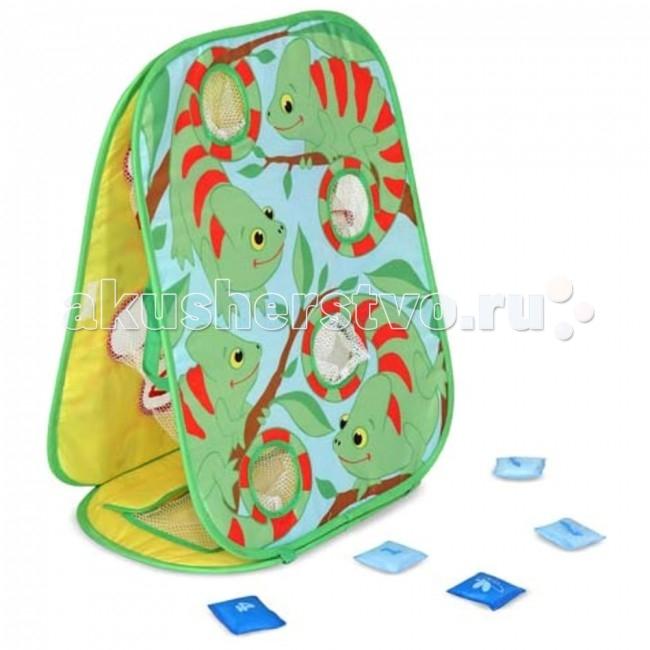 Melissa &amp; Doug Sunny Patch Игра-хамелеонSunny Patch Игра-хамелеонИгра-хамелеон рассчитана на координацию движения. В набор входит двусторонняя жесткая мишень и 8 мешочков с номерами.  Правила игры: каждый игрок получает равное количество мешочков. Отойдя на несколько шагов от мишени игроки по очереди бросают по одному мешочку, и за каждое попадание мешочка в кармашек игрок получает одно очко. Выполнив все броски, игроки собирают свои мешочки и бросают их снова, пока один игрок не наберет необходимое для победы количество очков.   Игрушка изготовлена из экологически чистых, натуральных, безопасных для ребенка материалов.   Melissa & Doug - ведущий мировой производитель игрушек из натуральных материалов, прежде всего из дерева. Вся производимая продукция отличается надежностью, экологичностью и безопасностью для ребенка. Игрушки данной торговой марки предназначены не только для развлечения детей, а в первую очередь ориентированы на раннее развитие и обучение.<br>