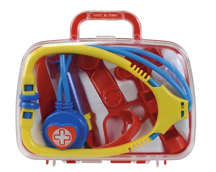 Simba Набор докторНабор докторSimba Набор доктор в чемоданчике из 5 предметов.  Особенности: Такой набор понравится любому ребёнку, который мечтает стать доктором и любит лечить не только своих кукол, но и всех близких. Набор упакован в прочный пластмассовый чемоданчик, в котором аккуратно лежать пять медицинских инструментов для оказания первой экстренной помощи. В продаже набор представлен в двух вариантах.<br>