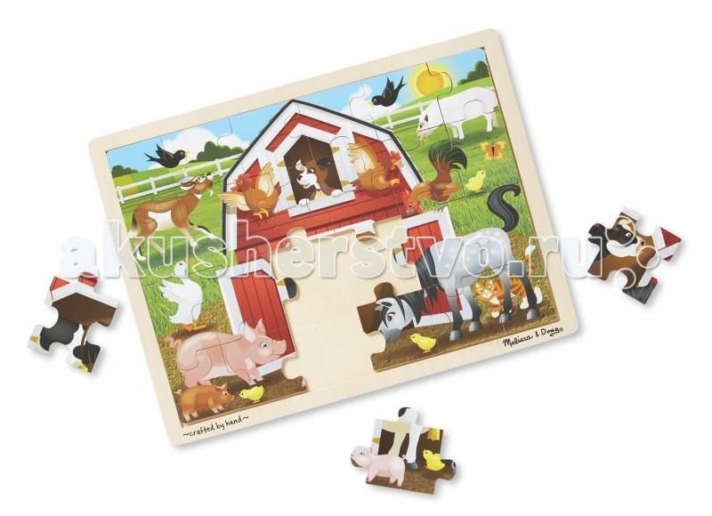 Melissa &amp; Doug Пазл Животные на ферме (24 детали)Пазл Животные на ферме (24 детали)Увлекательный и яркий пазл непременно понравится малышам и познакомит их с животными, которые живут на ферме. Несложный рисунок нанесен на 24 детали, из которых ребенку не будет трудно собрать полную картинку. А когда пазл будет собран, ребенок с удовольствием будет разглядывать интересный рисунок, который перенесет малыша на веселую ферму.   Пазл выполнен из натурального дерева и окрашен нетоксичными красками, что абсолютно безопасно для ребенка. Кусочки пазла специально сделаны большими, чтобы ребенку было легко с ними играть.  Игрушка изготовлена из экологически чистых, натуральных, безопасных для ребенка материалов.   Melissa & Doug - ведущий мировой производитель игрушек из натуральных материалов, прежде всего из дерева. Вся производимая продукция отличается надежностью, экологичностью и безопасностью для ребенка. Игрушки данной торговой марки предназначены не только для развлечения детей, а в первую очередь ориентированы на раннее развитие и обучение.<br>