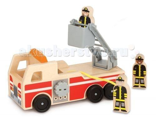 Деревянная игрушка Melissa &amp; Doug Пожарная машинаПожарная машинаВ игровой набор входят деревянная пожарная машина, шланг, подъемный ковш лестницу, плюс три фигурки пожарных.  Игрушка изготовлена из экологически чистых, натуральных, безопасных для ребенка материалов.   Melissa & Doug - ведущий мировой производитель игрушек из натуральных материалов, прежде всего из дерева. Вся производимая продукция отличается надежностью, экологичностью и безопасностью для ребенка. Игрушки данной торговой марки предназначены не только для развлечения детей, а в первую очередь ориентированы на раннее развитие и обучение.<br>