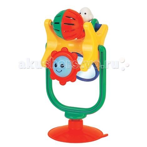 Развивающая игрушка Kiddieland Забавное вращение на присоскеЗабавное вращение на присоскеРазвивающая игрушка Kiddieland Забавное вращение на присоске - веселая игрушка, которая позволит малышам изучить законы движения предметов по кругу. Игрушка представляет собой раму, на которой закреплена сложная конструкция, где есть крутящийся шарик с металлическим бубенчиком, солнышко с открытыми и закрытыми глазками в виде погремушки, безопасное небьющееся зеркальце и крутящийся человечек с колечками.  Закрепите изделие на любой гладкой поверхности с помощью присоски и пусть ребёнок играет!<br>