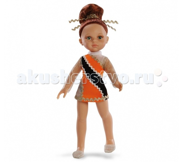 Paola Reina Кукла Гимнастка 32 смКукла Гимнастка 32 смКукла Paola Reina Гимнастка 32 см в оранжевом платье.  Особенности: Куклы Паола Рейна имеют нежный ванильный аромат, одеты в модную одежду с аксессуарами.  Голова, руки и ноги куклы подвижны.  Ручки поварачиваются в запястьях.  В наборе гимнастические снаряды: обруч, булавы, лента, мячик. Качество подтверждено нормами безопасности EN17 ЕЭС.   Материалы:  кукла изготовлена из винила глаза выполнены в виде кристалла из прозрачного твердого пластика волосы сделаны из высококачественного нейлона.<br>