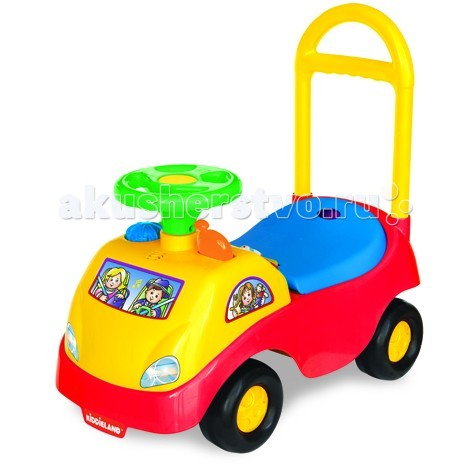 Каталка Kiddieland РодстерРодстерКаталка Kiddieland Родстер - станет любимым средством передвижения Вашего малыша.  Каталка выполнена в ярких цветах, подходящих и мальчику, и девочке.   Спереди наклеено лобовое стекло - наклейка с изображением пассажиров. На руле гудок. Возле руля - кнопочки, объемные фигурки, ключ зажигания, рычаг. При нажатии на кнопки играет музыка, слышен звук работающего мотора. У каталки широкое сиденье, высокая съемная спинка.<br>