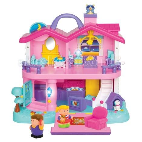 Kiddieland Развивающий центр Домик мечтыРазвивающий центр Домик мечтыKiddieland Развивающий центр Домик мечты - домик, в котором живут девочка и мальчик, помогает детям узнать привычки, сложившиеся в каждом доме.   При нажатии или повороте фигурок слышны разнообразные звуки  и мелодии. В домике живут мальчик и девочка. В доме есть кухня, спальня, гостиная и ванная.  Также имеется собачья будка, возле которой сидит собачка. На кухне есть плита со светящимися конфорками и раковина. В спальне - изящная кровать, прикроватная тумбочка с ночником, журнальный столик.  На окнах - занавески, на потолке - большая люстра. В ванной комнате - большое зеркало с раковиной, ванна, унитаз с закрывающейся крышкой. В гостиной - кресло, телевизор и ковер.  Входная дверь снабжена настоящим звонком, в прихожей - шкафчик для обуви. На крыше дома есть подвижное солнышко, труба, из которой выглядывает кошка, а также ручка, с помощью которой домик можно переносить с места на место.  Для работы требуются 2 батарейки АА (входят в комплект).<br>