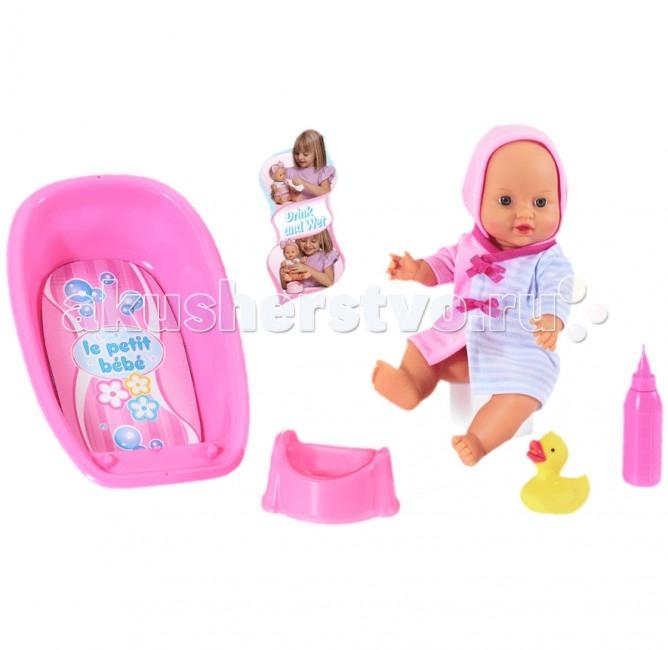 Loko Toys Кукла Le Petit Bebe 32 см с ванночкой и аксессуарамиКукла Le Petit Bebe 32 см с ванночкой и аксессуарамиИгры с куклами способствуют эмоциональному развитию, помогают формировать воображение и художественный вкус, а также развивают в вашей малышке чувство ответственности и заботы.  Такой пупс надолго увлечет девочку и подарит ей множество счастливых часов, посвященных игре с ним.  Комплектность:  1 пластиковая кукла 30 см.,  ванночка для кукол 1шт.,  горшок 1шт.,  бутылочка для кормления 1шт.,  фигурка уточки 1шт.  Функции: пьет и писает  Изготовлено из: ПВХ, Текстиль, Полиэстер, пластик<br>