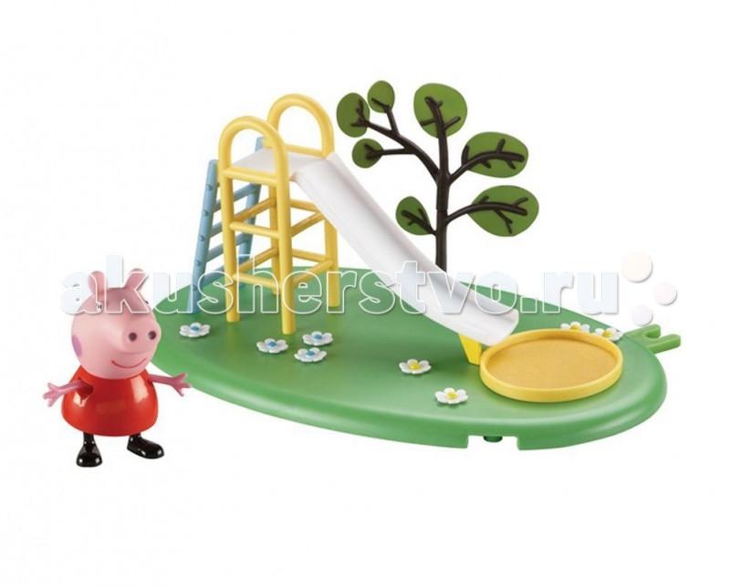 Peppa Pig Игровой набор Игровая площадка Горка ПеппыИгровой набор Игровая площадка Горка ПеппыPeppа Pig Игровой набор Игровая площадка Горка Пеппы для развлечений свинки Пеппы и ее друзей.  На цветочной зеленой полянке с растущим деревом можно скатываться с веселой горки с лестницей, а чтобы Пеппа с друзьями не ушиблись, перед лестницей находится песочница.  Особенности:  Этот набор может соединяться по принципу пазлов с таким же набором или другими из этой серии: Качели-качалка или Качели. В наборе: площадка с горкой и фигурка свинки Пеппы (5 см) с двигающимися ручками и ножками. Игрушки изготовлены из безопасного пластика.  Товар сертифицирован.<br>