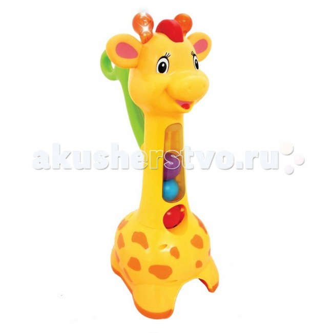 Каталка-игрушка Kiddieland с ручкой Жираф c шарами