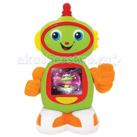 Интерактивная игрушка Kiddieland Приятель робот KID 051367Приятель робот KID 051367Интерактивная игрушка Kiddieland Приятель робот KID 051367 - удивительный робот, обязательно станет хорошим другом Вашему малышу.  Я кручу головой и двигаю руками! Покрути кнопку на голове,чтобы посмотреть как робот двигает глазками под забавные звуки!   Нажми кнопку на туловище, чтобы понаблюдать за цветными картинками и послушать увлекательные звуки!   Работает от 2-х батареек стандарта LR6 АА 1,5V (входят в комплект).<br>