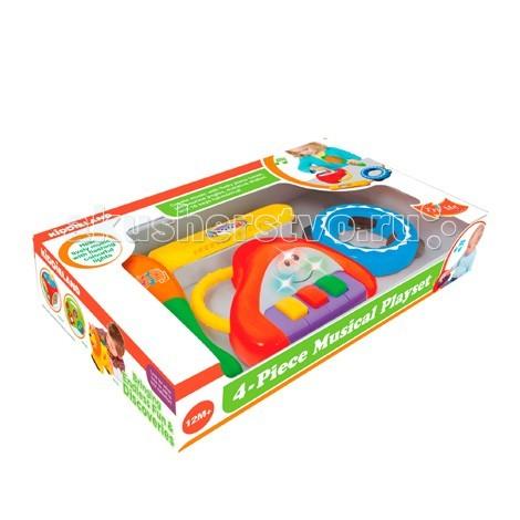Музыкальная игрушка Kiddieland Набор инструментов KID 053231 - KiddielandНабор инструментов KID 053231Музыкальная игрушка Kiddieland Набор инструментов KID 053231 - отличный подарок малшам, благодаря которому они познакомятся с музыкой!   В набор входят: губная гармошка, пианино, бубен.   Все предметы имеют световые и звуковые эффекты, а также удобные ручки, с помощью которых малышу будет удобно держать их в руке. Игра с музыкальными инструментами поднимет настроению ребенку и всем окружающим, а также поможет в развитии музыкального слуха, артистичности и творческого мышления.<br>