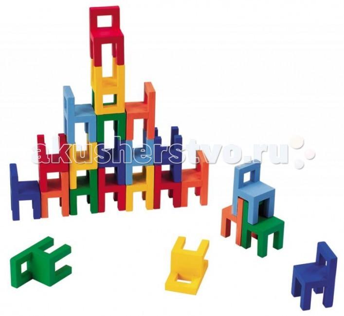 Деревянная игрушка Goki Игра СтульяИгра СтульяДеревянная игрушка Goki Игра Стулья. Высота каждого стула - 7 см, всего в наборе 24 стула.  Цель игры - из разноцветных стульев построить разнообразные фигуры в трехмерной плоскости. Сделать это не так просто, как кажется на первый взгляд.Для этого требуется уверенная рука и хороший глазомер!<br>