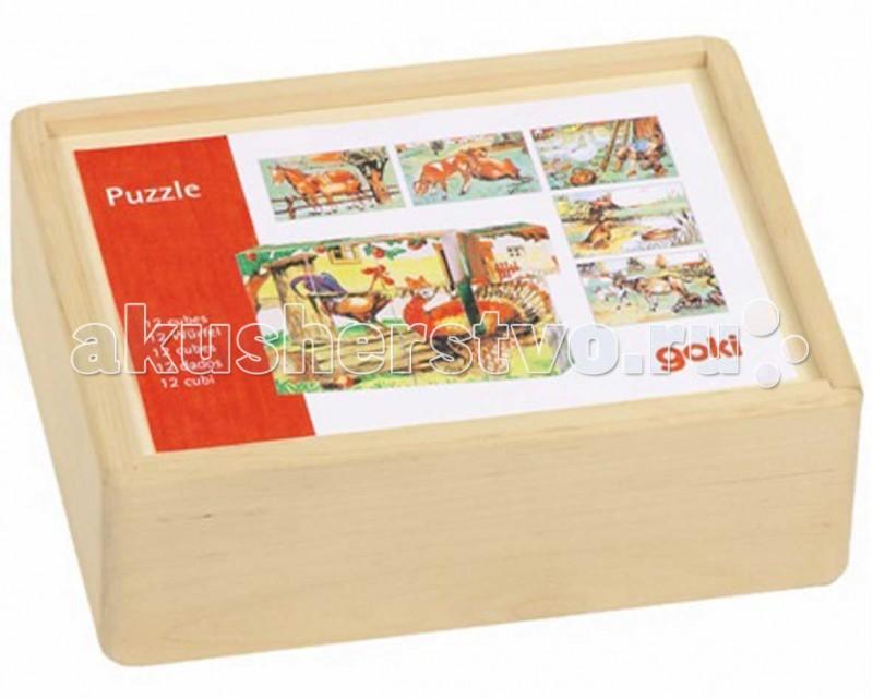 Деревянная игрушка Goki Кубики 3x4 Ферма
