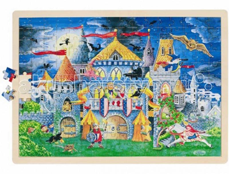 Деревянная игрушка Goki Пазл Сказка 192 деталиПазл Сказка 192 деталиДеревянная игрушка Goki Пазл Сказка 192 детали. Пазл состоит из192 частей с изображениямисказочного замка, короля и принцессы, прекрасного рыцаря и множества других сказочныхперсонажей.  Интересный и красивый классический пазл из натурального дерева развивает мелкую моторику ребенка, речь, стимулирует любознательность.   Пазл не только интересно собирать, благодаря деревянной рамке он украсит стену в детской комнате.<br>