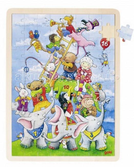 Деревянная игрушка Goki Пазл Веселая пирамида 96 деталей