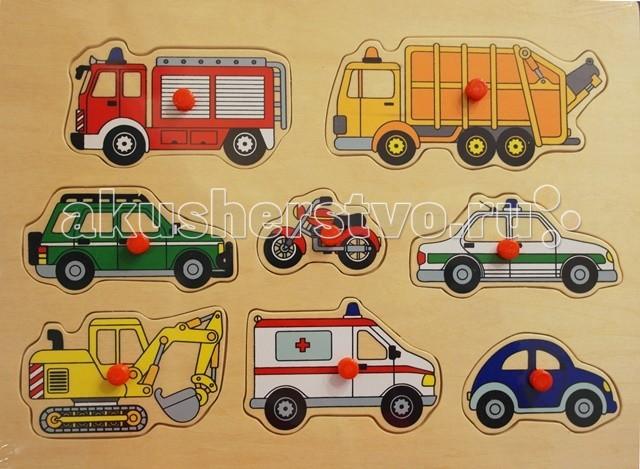 Деревянная игрушка Goki Пазл с держателями Машины