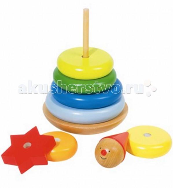 Деревянная игрушка Goki Пирамидка Клоун 57961