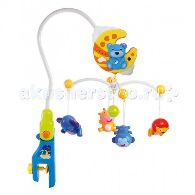 Мобиль Baby Mix Мишки с пультомМишки с пультомМобиль Мишки с пультом - это яркая музыкальная каруселька на кроватку, с которой малыш никогда не будет скучать. Симпатичные игрушки, медленное вращение игрушек, приятная музыка, возможность подсветки - вот отличительные черты этой игрушки.  Особенности: музыкальное сопровождение карусельки ребенок учится следить за подвесными игрушками у малыша активно и в максимально естественной форме развивается зрение кроха получает представление о пространственном положении предметов музыкальное сопровождение развивает слух ребенка разно-фактурные элементы помогут развить мелкую моторику и сенсорику  Разноцветные игрушки, могут быть использованы как отдельные игрушки, скрашивают малышу время, проведенное в кроватке, а успокаивающая мелодия - нежно убаюкает кроху. Вместе с воспроизведенной мелодией, можно включить и вращение самой карусели, где расположены всевозможные фигурки животных. Они обязательно заинтересуют вашего кроху. Все элементы карусели отстегиваются от основной конструкции. Поэтому на их место можно прикрепить другие игрушки, а теми малыш может играть в качестве простых полюбившихся игрушек.<br>
