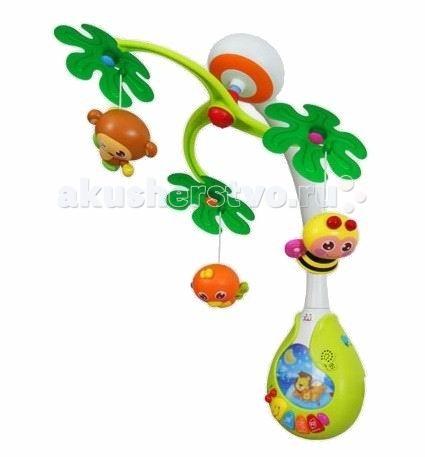 Мобиль Baby Mix ДжунглиДжунглиМузыкальная карусель со световыми эффектами Джунгли – это игрушка для развития и отдыха самых маленьких деток, ведь так уютно засыпать под одну из своих любимых мелодий вечером, а днем наслаждаться танцем забавных зверушек.  Особенности: карусель крепится к любому виду кроватки малыш может услышать 13 разные колыбельных мелодий в том числе звуки природы имеется регулятор громкости красочные световые эффекты привлекут внимание крохи игрушки вращаются малыш учится следить взглядом за игрушками у ребенка развивается зрение и глазомер музыкальное сопровождение игры стимулирует развитие слуха игрушки имеют разно-текстурную поверхность, что позволяет малышу развить тактильное восприятие и моторику<br>
