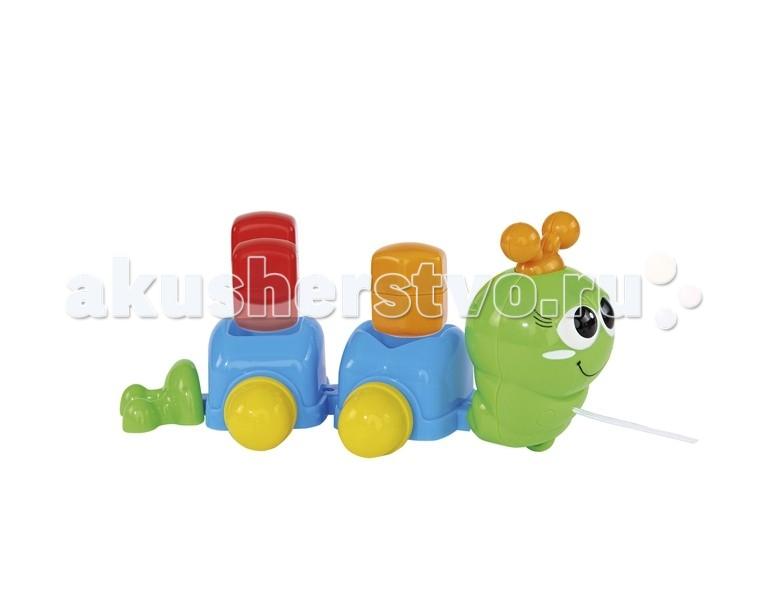 Каталка-игрушка Simba Гусеничка сортер 26 смГусеничка сортер 26 смРазноцветная каталка выполнена в виде улыбчивой гусенички, которая сможет сопровождать малыша в доме и на прогулке.   На спине у гусенички есть два отверстия, куда вставляются геометрические фигурки разной формы.   Подбирая фигурки под нужное отверстие, малыш будет не просто получать удовольствие от игры, но и развивать логическое мышление.  Комплект: гусеничка, две геометрических фигурки.  Длина игрушки: 26 см.<br>