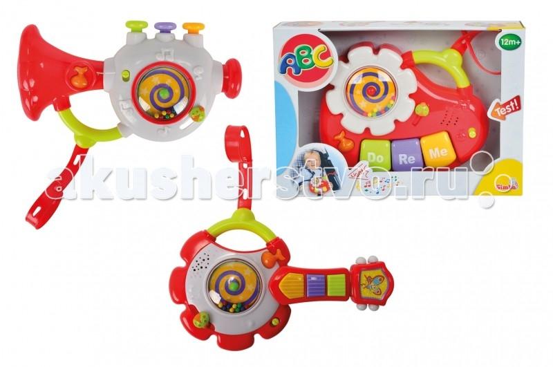 Музыкальная игрушка Simba ABC (свет, звук)ABC (свет, звук)Музыкальная игрушка со звуковыми эффектами имеет яркий и привлекательный дизайн и займет малыша в дороге.   Игрушка представлена в форме музыкального инструмента, мелодия извлекается при нажатии функциональных кнопочек, как в настоящем инструменте.   Помимо прочего, игрушка украшена забавными рельефными изображениями животных и нот, а внутрь помещено украшение с бусинками, которые могут вращаться при нажатии на кнопку.   Благодаря наличию специального крепежа инструмент легко можно установить на коляску или автокресло, и он будет развлекать малыша в дороге при длительных поездках.  Размер игрушки: 38 х 29 х 4 см.<br>