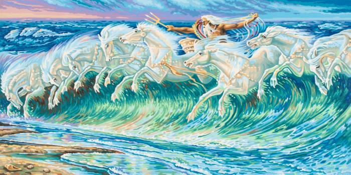 ФОТО schipper Картина по номерам Репродукция Лошади Нептуна Вольтер Крейн 40х80 см