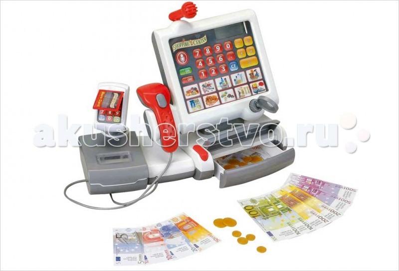 Klein Касса электронная Сенсорная панельКасса электронная Сенсорная панельKlein Касса электронная Сенсорная панель. Многофункциональный электронный кассовый центр с ЖК-дисплеем, встроенным калькулятором,панелью с сенсорными кнопками, светящимся сканером, терминалом для банковских карт с имитацией ввода ПИН-кода, электронными весами с подсветкой, открывающимся отсеком для денег, звуковыми эффектами для каждого действия.   Касса снабжена 10 кнопками с изображением различных наборов продуктов, при нажатии на которые на ЖК дисплее отображается цена индивидуально для каждого набора. При взвешивании продуктов на электронных весах на ЖК-дисплее также отображается их цена.  Касса включается и выключается расположенными на панели сенсорными кнопками. Также на панели расположена кнопка звукового сигнала свободная касса.   В набор входят монеты, купюры и пластиковая карточка.<br>