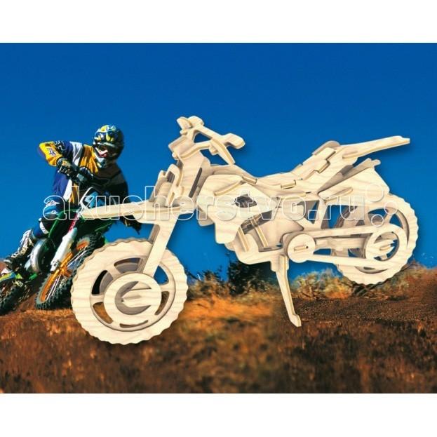 Конструктор МДИ Сборная модель Кроссовый мотоциклСборная модель Кроссовый мотоциклСборная модель МДИ Кроссовый мотоцикл.  Для любителей гоночной техники представляем Вашему вниманию сборную деревянную модель Кроссовый мотоцикл. Легко собирать, прилагается инструкция, можно раскрасить по своему вкусу и желанию. Сборная модель из натурального материала дерево в законченном виде станет миниатюрным аналогом кроссового мотоцикла, что вдвойне порадует детей. Уже процесс сборки технической модели интересен сам по себе, особенно для мальчиков, которые начинают в малых лет проявлять интерес к машинам и любой транспортной технике.   Сбор производится по легкой и понятной инструкции, готовый экземпляр можно раскрасить в соответствии со своим вкусом. Аналог мотоцикла можно разместить на экспозиции в коллекцию деревянных моделей, а также использовать в любых играх, где требуется миниатюрный мотоцикл. Подобные мотоциклы детям полезны в качестве тренажеров при обучении первым правилам дорожного движения, а также в самостоятельных играх на любую тему - гонки, ремонт, путешествия.   Мальчикам особенно интересно и познавательно самим собрать этот впечатляющий технический объект и раскрасить аналог, наблюдая за настоящими мотоциклами. Детские игрушки из дерева таят в себе глубокий смысл, это единение с природой, и ваш оберег. Деревянные детские игрушки раскрывают сказочный мир, который живет внутри нас, вместе с ними сказка оживает.<br>