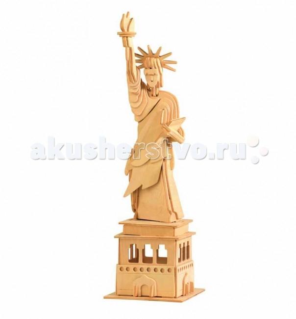 Конструктор МДИ Сборная модель Статуя СвободыСборная модель Статуя СвободыСборная модель МДИ Статуя Свободы.  Набор Статуя Свободы - представляет собой экологически чистый набор деревянных деталей для конструирования сборной деревянной модели. Набор не похож на обычный конструктор-пазл, что непременно понравится ребенку.   Очень важной особенностью является то, что игрушка выполнена из экологически чистого дерева. Детали выдавливаются из фанерной доски и собираются согласно инструкции. Лучше всего проклеивать места соединения клеем сразу при сборке, так собранная Вами модель будет долго служить.  Особенностью этого набора является то, что ребенок может не только собрать и склеить модель но и по своему усмотрению красочно раскрасить её используя любые краски. В этом случае нужно заранее продумать как общий дизайн модели, так и окраску каждой детали. Производитель рекомендует использовать темперные краски. После можно покрыть лаком.  Игрушка способствуют развитию: логики памяти внимательности моторики рук усидчивости пространственного и абстрактного мышления ощущения трехмерной формы подготавливает руку к письму.<br>