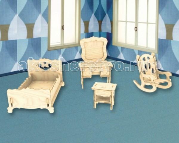Конструктор МДИ Сборная модель СпальняСборная модель СпальняСборная модель МДИ Спальня.  Мебель для детской спальни. Маленькие пупсики смогут комфортно и уютно отдохнуть в своей новой деткой комнате. Ваша доченька соберет прекрасную детскую для своих малышей. Создайте своими руками необыкновенную мебель для спальной комнаты с помощью набора из дерева.   Пусть любимая игрушка ребенка поселиться в комнату, которая будет создана оригинальным образом и окрашена по индивидуальному, неповторимому дизайну. В деревянный набор для творчества входит: трюмо с зеркалом, стул-качалка, тумбочка для всевозможных мелочей и красивая кровать. Каждый предмет интерьера необходимо сначала собрать и проклеить. Затем, с помощью фантазии вашего ребенка, нужно покрасить мебель и покрыть ее лаком.   Если необходимо, то перед сборкой каждую деталь можно почистить наждачкой, которую производители вложили в комплект. Материал, из которой изготовлена игрушка – натуральный и безопасный. Поэтому, выбирая краску следует обратить внимание на то, чтобы она была нетоксичной.  Придумайте с ребенком какую игрушку поселить в спальную комнату, какое постельное белье постелить и как расставить каждый предмет, чтобы было удобно. Детские игрушки из дерева таят в себе глубокий смысл, это единение с природой, и ваш оберег. Деревянные детские игрушки раскрывают сказочный мир, который живет внутри нас, вместе с ними сказка оживает.<br>