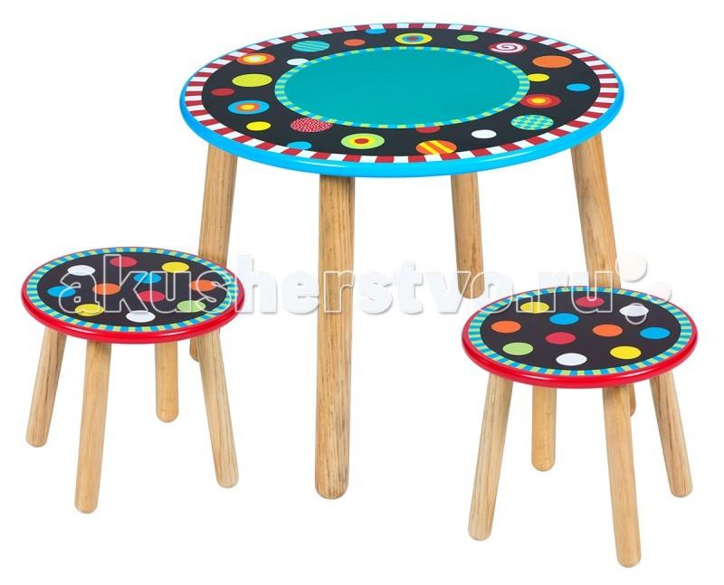 Alex Детский стол круглый + 2 табуретки