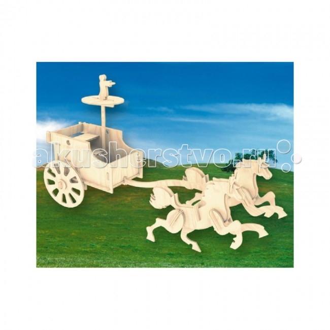 Конструктор МДИ Сборная модель Боевая колесницаСборная модель Боевая колесницаСборная модель МДИ Боевая колесница.  Набор Боевая колесница - представляет собой экологически чистый набор деревянных деталей для конструирования сборной деревянной модели. Набор не похож на обычный конструктор-пазл, что непременно понравится ребенку. Очень важной особенностью является то, что игрушка выполнена из экологически чистого дерева. Детали выдавливаются из фанерной доски и собираются согласно инструкции. Лучше всего проклеивать места соединения клеем сразу при сборке, так собранная Вами модель будет долго служить.  Особенностью этого набора является то, что ребенок может не только собрать и склеить модель но и по своему усмотрению красочно раскрасить её используя любые краски. В этом случае нужно заранее продумать как общий дизайн модели, так и окраску каждой детали. Производитель рекомендует использовать темперные краски. После можно покрыть лаком.  Игрушка способствуют развитию: логики памяти внимательности моторики рук усидчивости пространственного и абстрактного мышления oщущения трехмерной формы подготавливает руку к письму.<br>