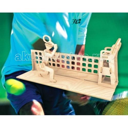 Конструктор МДИ Сборная модель ТеннисистСборная модель ТеннисистСборная модель МДИ Теннисист.  Набор Теннисист - представляет собой экологически чистый набор деревянных деталей для конструирования сборной деревянной модели. Набор не похож на обычный конструктор-пазл, что непременно понравится ребенку. Очень важной особенностью является то, что игрушка выполнена из экологически чистого дерева. Детали выдавливаются из фанерной доски и собираются согласно инструкции. Лучше всего проклеивать места соединения клеем сразу при сборке, так собранная Вами модель будет долго служить.   Особенностью этого набора является то, что ребенок может не только собрать и склеить модель но и по своему усмотрению красочно раскрасить её используя любые краски. В этом случае нужно заранее продумать как общий дизайн модели, так и окраску каждой детали. Производитель рекомендует использовать темперные краски. После можно покрыть лаком.  Игрушка способствуют развитию: логики памяти внимательности моторики рук усидчивости пространственного и абстрактного мышления oщущения трехмерной формы подготавливает руку к письму.<br>