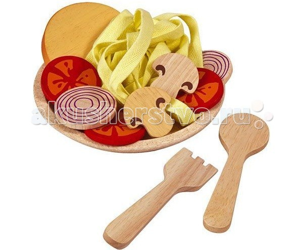 Plan Toys Деревянный игрушечный набор Спагетти с овощамиДеревянный игрушечный набор Спагетти с овощамиPlan Toys Деревянный игрушечный набор Спагетти с овощами. Маленькая хозяйка с удовольствием приготовит вкусные спагетти для своих любимых кукол и угостит родителей.   В комплекте:  тарелка вилка и ложка спагетти грибы помидоры лук хлеб.  Игровой набор способствует развитию координации движений, тактильных ощущений, стимулируют воображение. Компания Plan Toys стремится сохранить окружающую среду для будущего наших детей, именно поэтому игрушки становятся еще более экологически чистыми.<br>