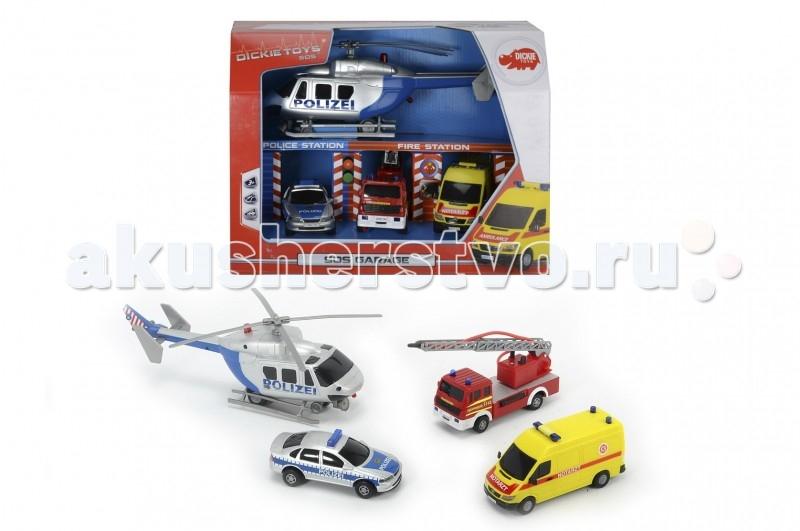 Dickie Гараж S.O.S.Гараж S.O.S.Набор представляет собой спасательную станцию, где размещаются машины экстренных служб: пожарные, полиция и скорая помощь. Коробка выполняет роль гаража.   Машины оформлены в соответствии с их реальными прототипами и имеют соответствующие надписи на борту.  Вертолет оснащен носилками с лебедкой и имеет подвижный винт, пожарный автомобиль оснащен выдвижной лестницей и имеет функцию разбрызгивания воды.   Кроме того, машинки могут самостоятельно передвигаться благодаря фрикционному механизму.  Комплект: 3 машинки, вертолет.  Размер вертолета: 30 см. Размер машинок: 17 см.<br>