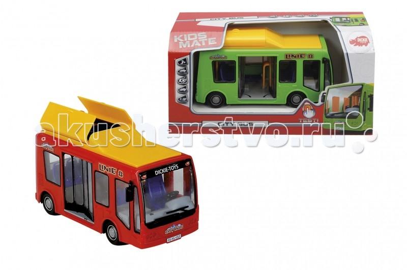 Dickie Городской автобус 1:32 16 смГородской автобус 1:32 16 смГородской автобус с фрикционным механизмом управления непременно понравится каждому ребенку, который неравнодушен к технике.  Размер игрушки: 16 см.<br>