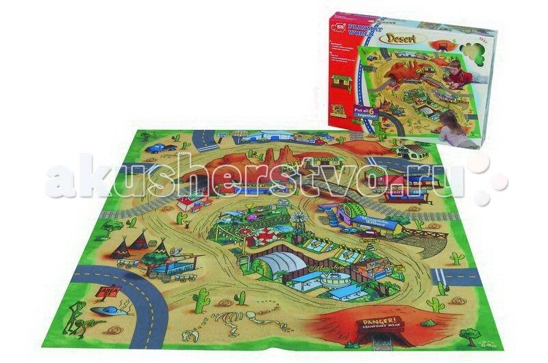 Игровой коврик Dickie Пустыня 70х80 смПустыня 70х80 смЕсли вашему ребенку наскучило играть с машинками на полу, приобретите для него игровой коврик Пустыня, и, игра для него станет увлекательной.   На нем он сможет ознакомиться с целым городом в стиле Дикого запада, в том числе увидеть расположенные дома, шахту, поселение индейцев.   Малыш с удовольствием прокатит свои любимые машинки через тоннель и дороги, и сможет построить свой маршрут движения.   Коврик мягкий, на резиновой основе, что позволяет ему не скользить по полу.  Размер игрушки: 70 х 80 см.<br>
