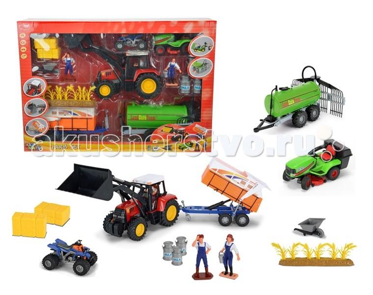 Dickie Набор Ферма 1:24Набор Ферма 1:24Большой набор «Ферма» отлично подходит для детской сюжетно-ролевой игры.   Работа на ферме это совсем не просто и ваш малыш сможет шаг за шагом ощутить весь процесс, который происходит там.   В наборе есть все необходимое для этого: трактор, комбайн для сбора урожая, квадроцикл для перемещения по территории фермы, 2 фигурки фермеров и множество различных аксессуаров, которые помогут сделать игру еще реалистичнее.  Ребенок сможет не только получить массу положительных эмоций, но и сможет развить воображение и фантазию, обыгрывая самые разные ситуации.  Комплект: трактор, комбайн, квадроцикл, 2 фигурки, аксессуары.<br>