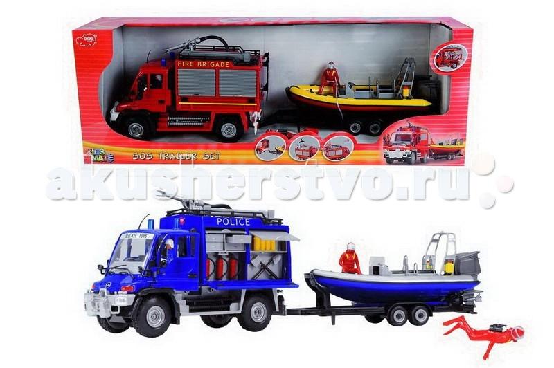 Dickie Служба спасения: грузовик+катер 1:18 50 смСлужба спасения: грузовик+катер 1:18 50 смПожалуй, каждый мальчишка в детстве представляет себя супергероем. Но герои это не только персонажи комиксов, но и отважные спасатели, полицейские и пожарные, спасающие сотни человек ежедневно.   Замечательный набор состоящий из служебной машины и специального катера позволит вашему малышу почувствовать себя смелым спасателем и обыграть множество самых разных ситуаций, спасая и помогая своим игрушкам.  Подобная игра поможет ребенку развить воображение и творческое мышление и отлично подойдет в период, когда малыш только начинает интересоваться разными сюжетно-ролевыми играми.   С машинкой можно играть как дома, так и на улице, а игрушечная лодка превосходно держится на плаву.  Комплект: машина, катер.  Размер игрушки: 50 см.<br>