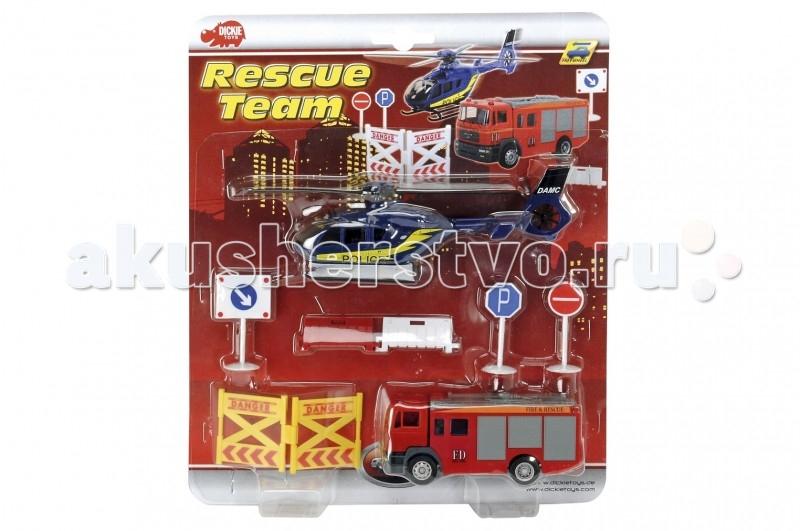 Dickie Спасательная команда 12/20 смСпасательная команда 12/20 смВсе малыши в детстве мечтают стать врачами, полицейскими и спасателями. Замечательный детский набор от Dickie - «Спасательная команда» подарит вашему крохе такую возможность.  Набор включает в себя игрушечный вертолетик, автомобиль, ограждения и дорожные знаки. Все игрушки, входящие в набор, изготовлены из высококачественной нетоксичной пластмассы и безопасны для здоровья ребенка.  Комплект: машинка, вертолет, знаки, ограждения.  Длина игрушек: 12 х 20 см.<br>