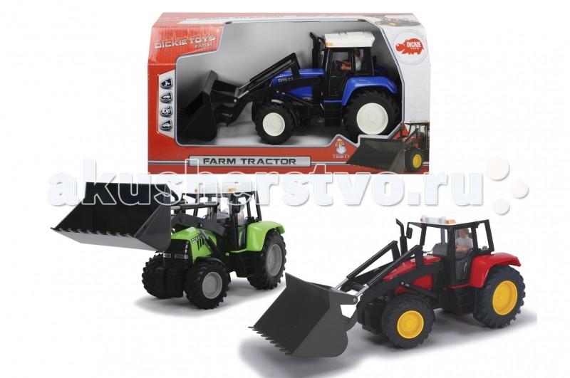 Dickie Трактор 25 смТрактор 25 смМальчишки смогут устроить у себя в детской комнате настоящую ферму, а помочь им в этом сможет этот трактор.   Игрушка выглядит очень реалистично, у нее есть ковш, который сможет имитировать процесс копания земли и перемещения его.   А для еще большей правдоподобности в кабине трактора сидит фигурка водителя, поэтому ребенок будет представлять себя в роли тракториста, занимающегося работами на своей земле.  Размер машины – 25 см.<br>