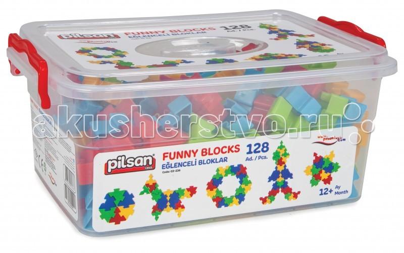Конструктор Pilsan Funny Blocks 128 деталейFunny Blocks 128 деталейКонструктор Pilsan Funny Blocks  - увлекательный и развивающий конструктор представляет собой 128 ярких цветных деталей в форме треугольника с пазами.  Данный конструктор способствует умственному развитию ребенка, развитию моторики рук, развитию воображения и пространственного мышления, социальной адаптации.  Изготовлен из экологически чистых материалов<br>