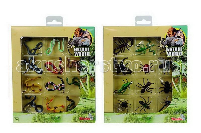 Simba Набор Змеи и насекомые 12 фигурокНабор Змеи и насекомые 12 фигурокНабор змей или насекомых украсит коллекцию любого юного любителя живой природы.   Пластиковые фигурки достаточно точно повторяют очертания и расцветку настоящих животных.   При этом насекомые и по своему размеру напоминают настоящих. По этой причине их можно использовать в разнообразных веселых розыгрышах.   Также в них крайне интересно играть.   Змеиное гнездо или целый рой насекомых незаменимы при создании джунглей в детской комнате.  Комплект: 12 объемных фигурок.  Размер: 5 см.<br>