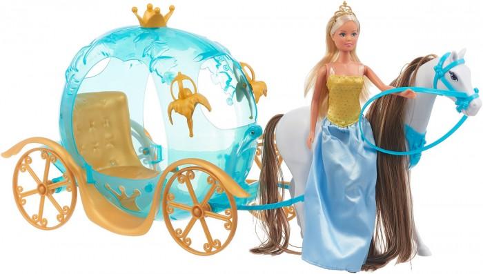 Simba Кукла Штеффи и ее сказочная каретаКукла Штеффи и ее сказочная каретаПрекрасный и волшебный игровой набор Штеффи и ее сказочная карета приведут в восторг вашу девочку.   Штеффи собралась ехать на бал, у нее чудесное платье и роскошные длинные волосы, которые ваша малышка с удовольствием будет расчесывать.   В карету запряжена красивая лошадь с длинной гривой.   Игрушки изготовлены из качественных материалов.   Сделайте своей малышке такой сказочный подарок.  Комплект: кукла, карета, лошадь, аксессуары. Размеры кареты: 67 см. Размер куклы: 29 см.<br>