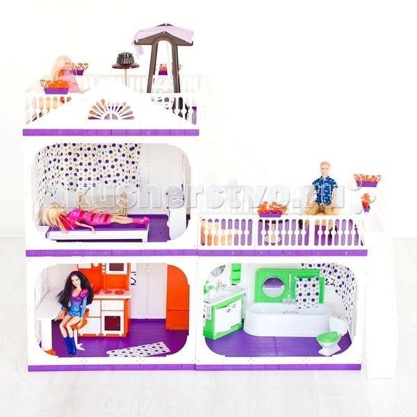 Огонек Коттедж для кукол Конфетти без мебелиКоттедж для кукол Конфетти без мебелиОгонек Коттедж для кукол Конфетти без мебели - очаровательный двухэтажный трёхкомнатный дом с террасой на крыше и ведущей туда лестницей.   Домик выполнен в нестандартных бело-фиолетовых тонах, придающих элегантность, неповторимый стиль и статус (в отличие от большинства игрушек для девочек стереотипных гламурно - розовых цветов). Стены, бордюрчики и терраса белые, перекрытия фиолетовые - все цвета сбалансированы и отлично подходят друг к другу.   В комплекте: коттедж шторы цветники инструкция. Предназначен для кукол ростом до 30 см<br>