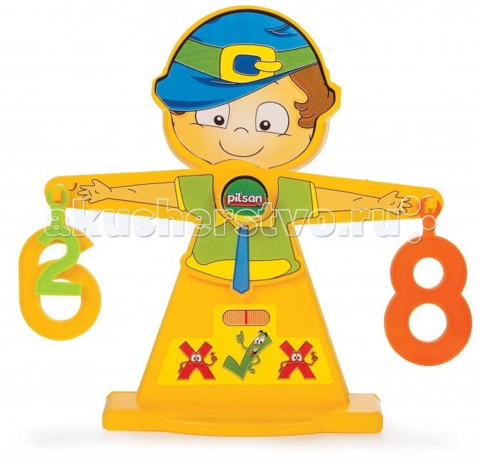 Развивающая игрушка Pilsan Числовые весыЧисловые весыИгровой набор Pilsan Number Balance из 17 деталей предназначен для детей от 3 лет.   Набор представляет собой весы в виде мальчика, слева и справа на на руки вешаются цифры, чем больше цифра тем больше она весит и ребенок наглядно увидит какая цифра больше. Таким образом Ваш ребенок в наглядной форме обучится устному счету.  Размеры: 5,5х21,5х23 см<br>