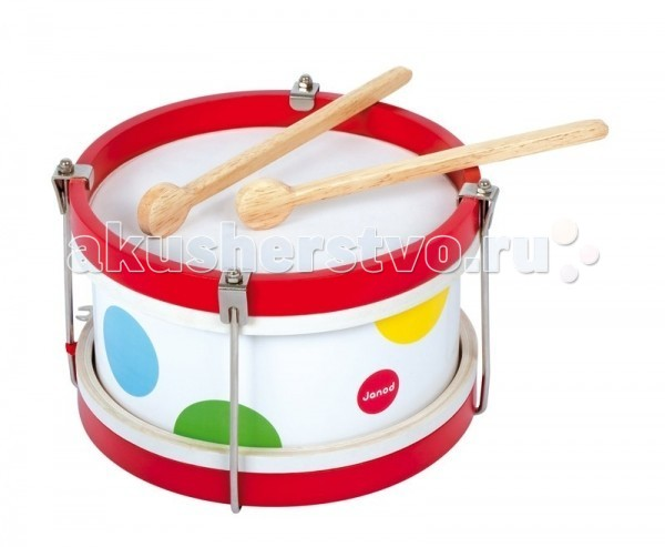 Деревянная игрушка Janod музыкальная Барабанмузыкальная БарабанДеревянная игрушка Janod музыкальная Барабан. Музыкальный барабан – игрушка, от которой ваш ребенок будет в восторге. Он имеет оригинальный дизайн и веселую приятную расцветку, на белом фоне расположены яркие разноцветные кружочки в виде конфетти.   Если Вы решите купить игрушку Барабан, то должны быть готовы к тому, что малыш поначалу будет испытывать Ваше терпение, просто стуча по инструменту. Со временем ребенок с Вашей помощью научится выбивать ритм, что очень способствует развитию музыкального слуха.<br>