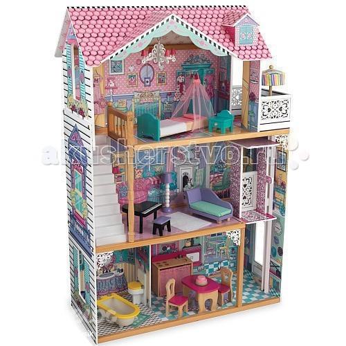 KidKraft Трехэтажный дом для кукол Барби Аннабель с мебелью 17 элементов